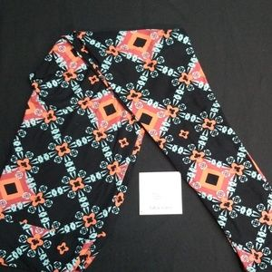 Coral, Aqua and black Lularoe TC leggings NWT